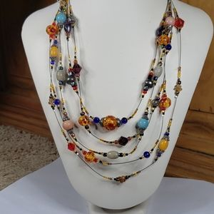 """Chico's 4 chain beaded necklace 16""""-20"""""""